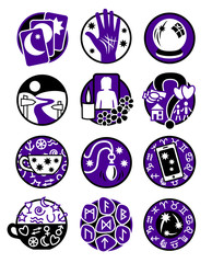 Twelve symbols showing different methods of clairvoyance, psychic reading and fortune telling in colours purple and black