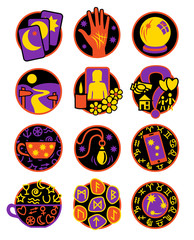 Twelve symbols showing different methods of clairvoyance, psychic reading and fortune telling in colours orange, yellow, purple and black