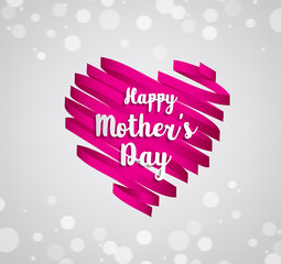Happy Mothers's Day typographical on ribbon heart