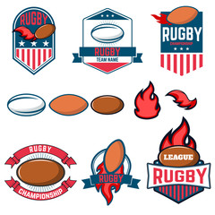 Rugby league. Rugby labels, emblems and design elements. Rugby c