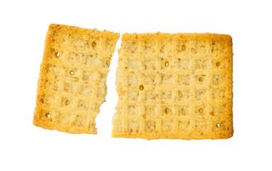Broken cracker isolated