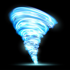 Abstract glowing tornado. Rotating twister. Isolated on a black