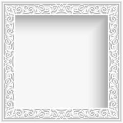 Square white paper frame