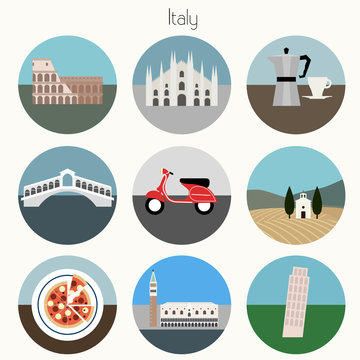 Italy Icons Set - Vector EPS10
