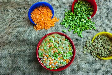 Split peas and lentils spilled