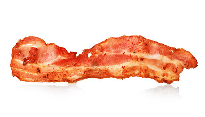 Bacon strip close-up isolated on a white background.