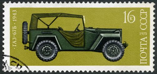 USSR - 1975: shows GAZ 67B car, 1943