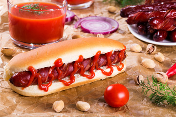 Barbecue Grilled Hot Dog in plain bun