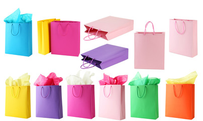 Colorful shopping bags isolated on white, collage