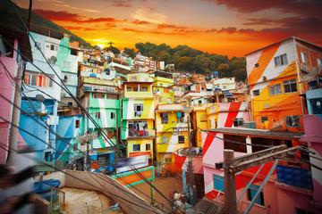 Photo sur Plexiglas Rio de Janeiro Rio de Janeiro downtown and favela