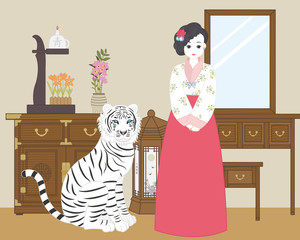 white tiger, hanbok girl (korea)