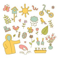 Spring doodles color set