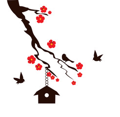 vector illustration of a tree branch with bird house, birds and flowers