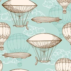 Vintage seamless pattern with air balloons