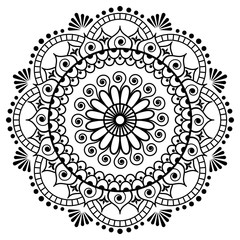 Mehndi flower in Indian henna mandala style for tatoo or card.