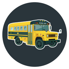 school bus flat vector illustration
