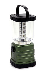 Rechargeable camping lamp on white background