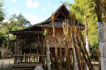 Bambushütte, MammutbauBambus, Park, Garten