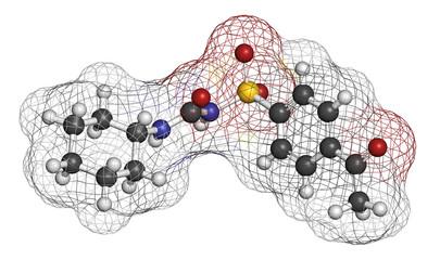 Acetohexamide diabetes drug molecule. 3D rendering.