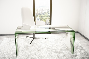 Glass table in room