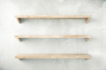 Shelves on concrete