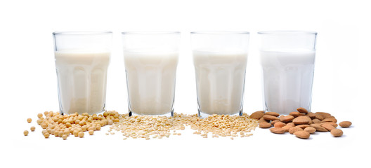 Vegetable milk: soy milk, rice milk, oat milk, almond milk