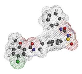 Glibenclamide (glyburide) diabetes drug molecule. 3D rendering.