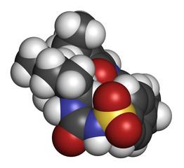 Glimepiride diabetes drug molecule. 3D rendering.
