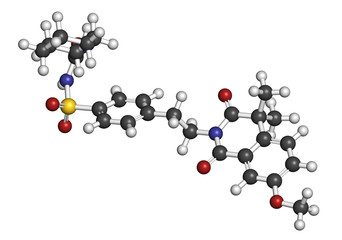 Gliquidone diabetes drug molecule. 3D rendering.