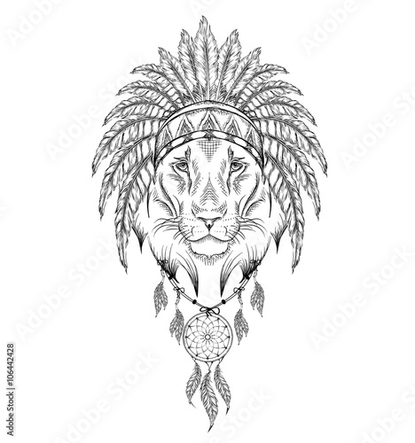 Lion In The Indian Roach Indian Feather Headdress Of Eagle Hand