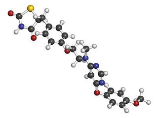 Lobeglitazone diabetes drug molecule. 3D rendering.