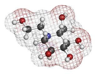 Miglitol diabetes drug molecule. 3D rendering.