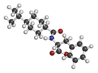 Nateglinide diabetes drug molecule. 3D rendering.