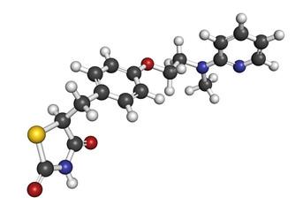 Rosiglitazone diabetes drug molecule.