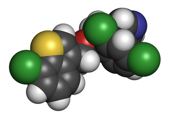 Sertaconazole antifungal drug molecule. 3D rendering.