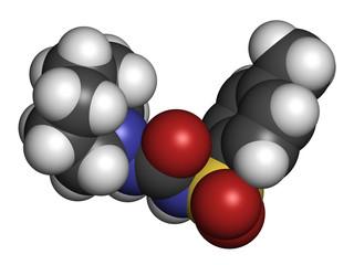 Tolazamide diabetes drug molecule. 3D rendering.
