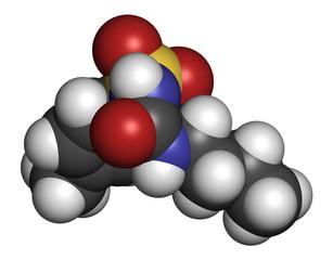 Tolbutamide diabetes drug molecule. 3D rendering.
