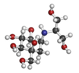 Voglibose diabetes drug molecule. 3D rendering.