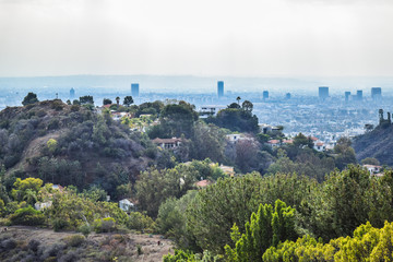 Good sunny day in downtown Los Angeles, California. Aerial view of Los angeles city from Runyon Canyon park Mountain View