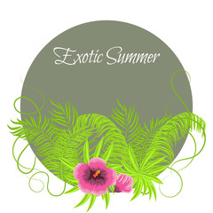Summer Tropical Plants and Hibiscus Flowers in round circle frame. Exotic jungle palm leaves and branches for greeting card or invitation.