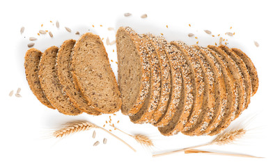 Wall Mural -  View from above of  bread with cereals.