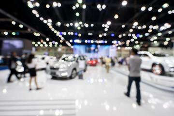 blur photo of motor show, car show room Wall mural