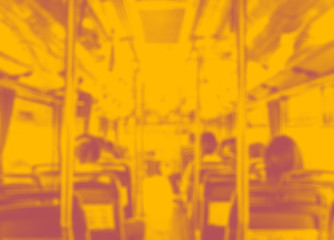 Abstract blur background, Inside of public bus with seat and peo