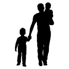 Black silhouettes Family on white background. Vector illustratio