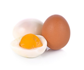 Half of Boiled egg isolated on white background