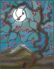 Illustration in stained glass style with the cherry blossoms on a background of mountains, sky and moon