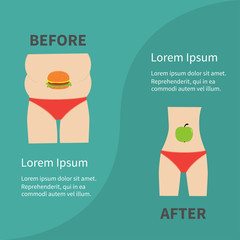 Before after infographic Woman fat and skinny figure red underwear. Healthy unhealthy food apple hamburger Flat design