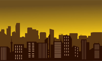 Silhouette of city at the noon