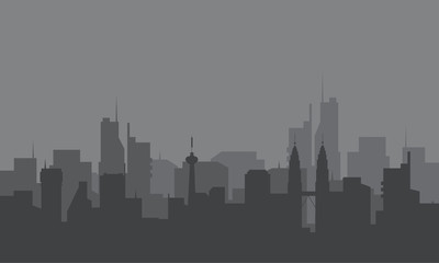 Silhouette of city with a fog