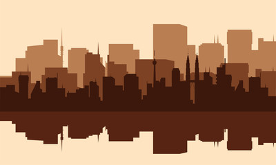 Silhouette of the city with towers